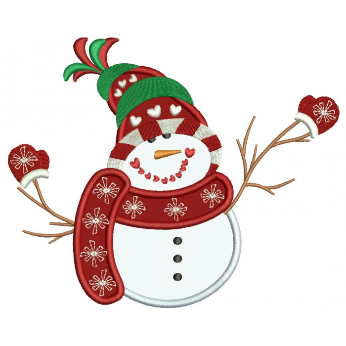 snowman with warm scarf wearing snow mittens christmas applique machine embroidery digitized design pattern - Christmas Mittens