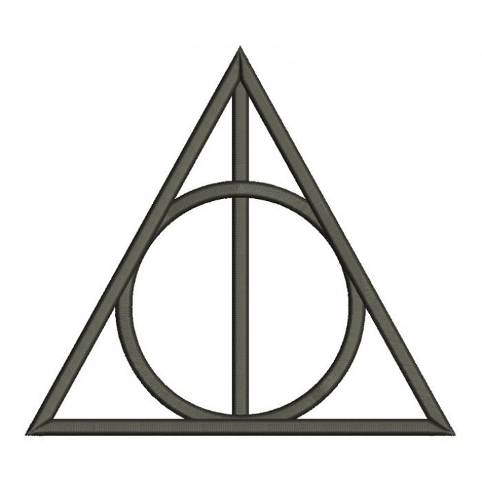 Deathly Hallows Symbol From Harry Potter Filled Machine Embroidery