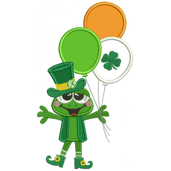 Happy Frog With Shamrock Balloons St. Patrick's Day Applique Machine Embroidery Design Digitized Pattern