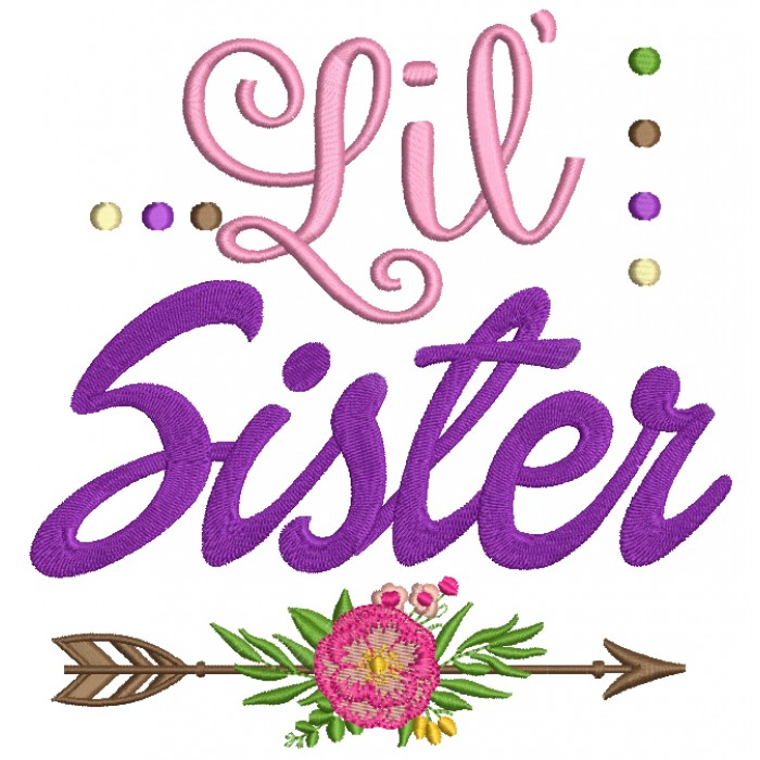 Lil Sister Arrow With a Flower Little Sister Filled Machine Embroidery Digitized Design Pattern