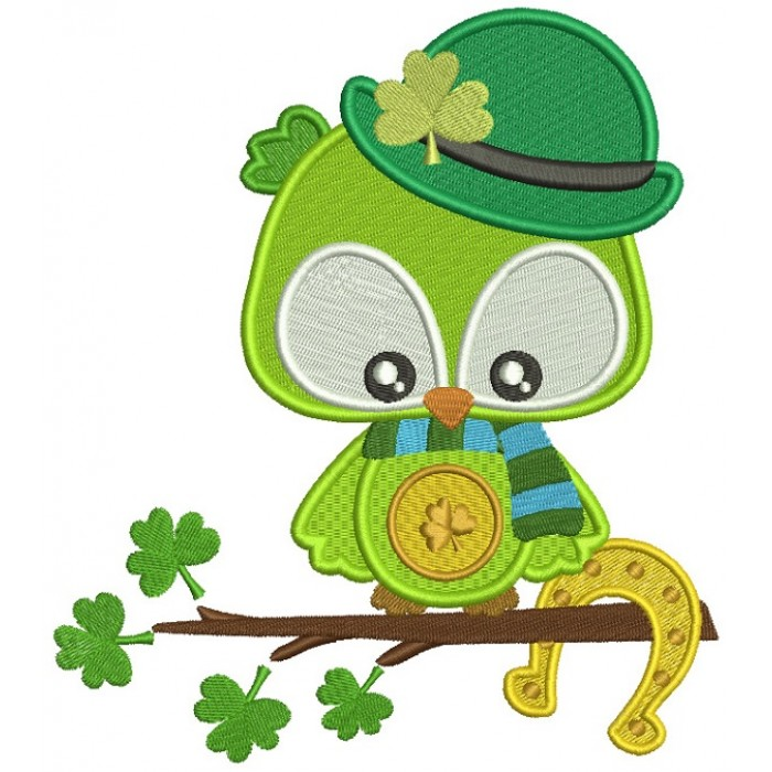 Lucky Owl Holding Horseshoe St. Patrick's Day Filled Machine Embroidery Design Digitized Pattern