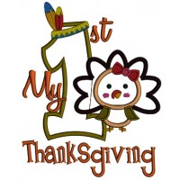 My First Thanksgiving With Cute Girl Turkey Applique Machine Embroidery Digitized Design Pattern