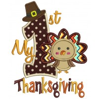 My First Thanksgiving With Cute Turkey Applique Machine Embroidery Digitized Design Pattern