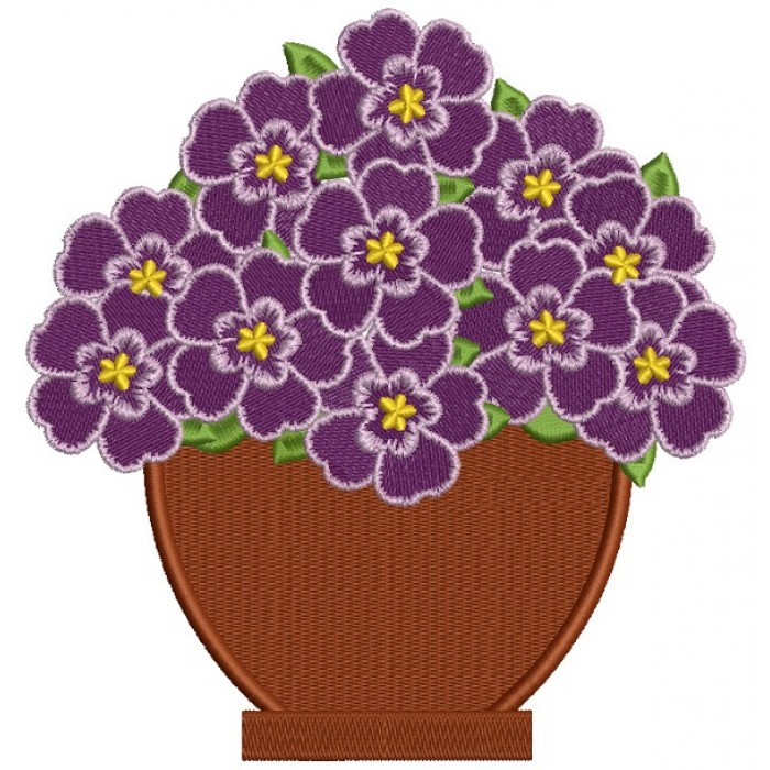 Purple Flowers In Plain Pot Filled Machine Embroidery Design Digitized Pattern