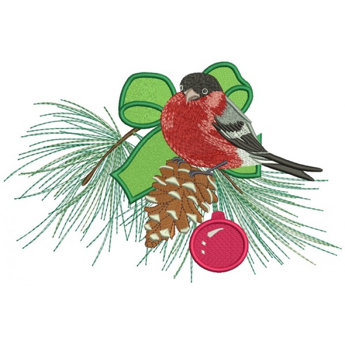 Red Robin Sitting On The Christmas Tree Branch Filled Machine Embroidery Design Digitized Pattern