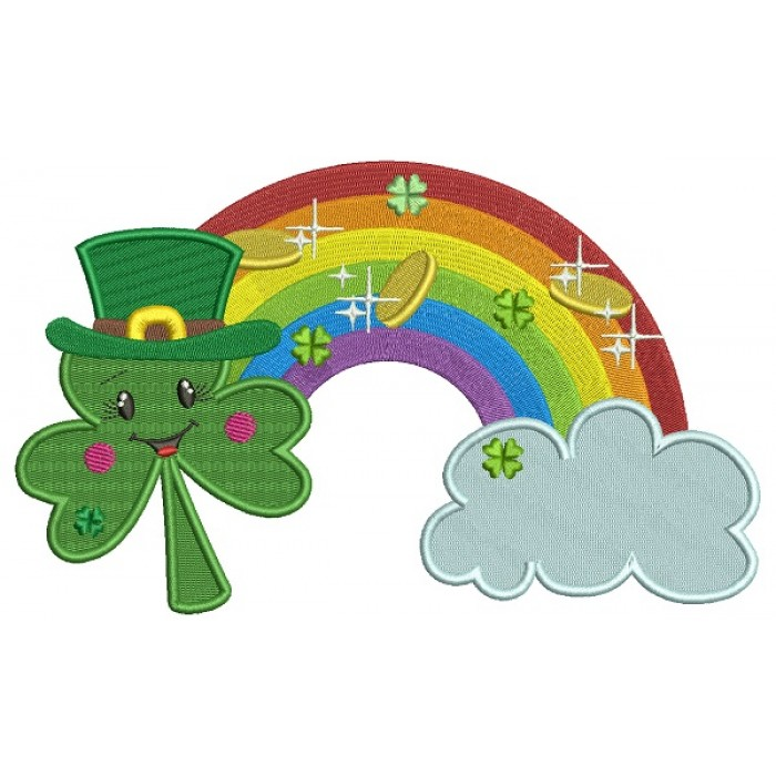 Shamrock Over The Rainbow StPatricks Day Filled Machine Embroidery Design Digitized Pattern