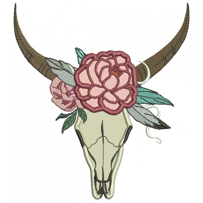 Tribal Boho Romantic Bull Skull and a Flower Applique Machine Embroidery Digitized Design Pattern