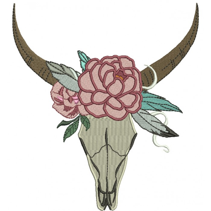 Tribal Boho Romantic Bull Skull and a Flower Filled Machine Embroidery Digitized Design Pattern