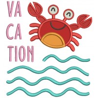 Vacation Little Crab With Waves Applique Machine Embroidery Design Digitized Pattern