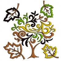 Autumn Leaves Applique Machine Embroidery Digitized Design Pattern