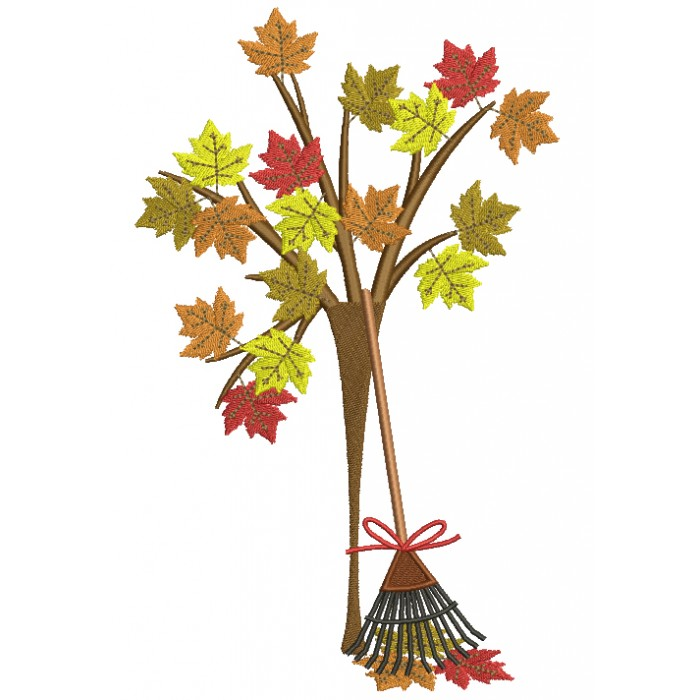 Autumn Leaves and a Rake Fall Filled Machine Embroidery Digitized Design Pattern
