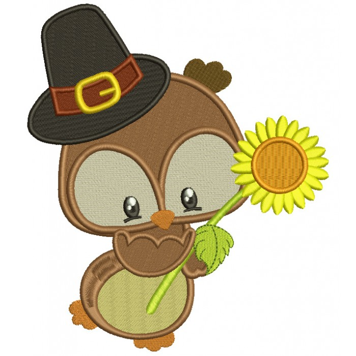 Cute Owl With Sunflower and a Big Hat Filled Machine Embroidery Digitized Design Pattern
