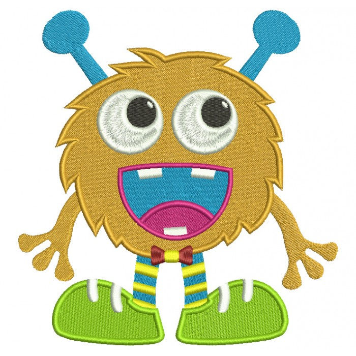 Happy Little Monster Filled Machine Embroidery Digitized Design Pattern
