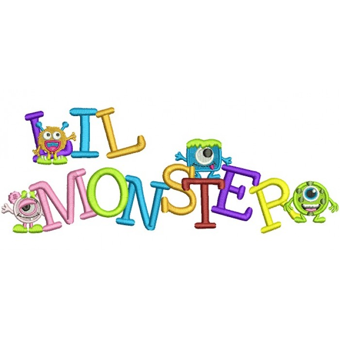 Lil Monsters Filled Machine Embroidery Digitized Design Pattern