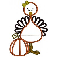 Little Turkey Girl Standing Next to Pumpkin Thanksgiving Applique Machine Embroidery Digitized Design Pattern