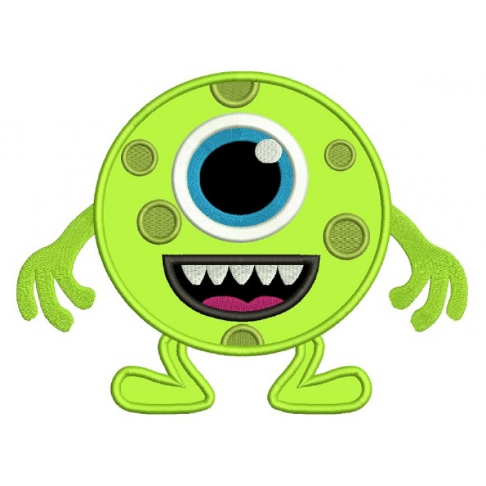 One Eyed Monster Applique Machine Embroidery Digitized Design Pattern