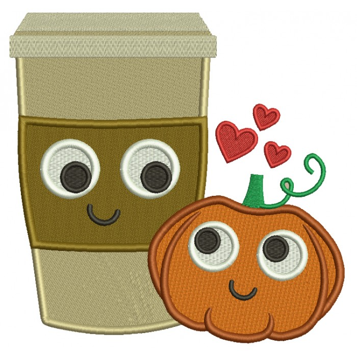 Pumpkin and Coffee Cup Filled Machine Embroidery Digitized Design Pattern