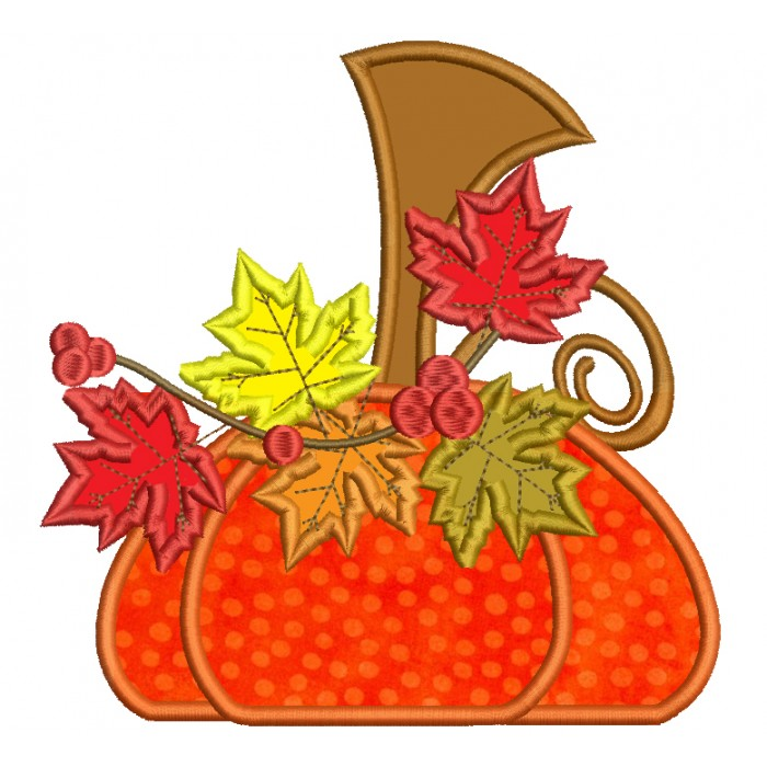 Whimsical Pumpkin With Leaves Fall Thanksgiving Applique Machine Embroidery Digitized Design Pattern