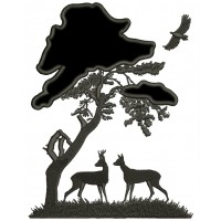 Buck and a Doe Under a Big Tree Hunting Applique Machine Embroidery Digitized Design Pattern