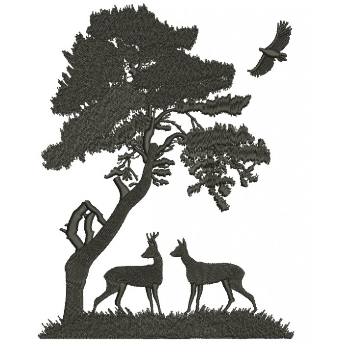 Buck and a Doe Under a Big Tree Hunting Filled Machine Embroidery Digitized Design Pattern