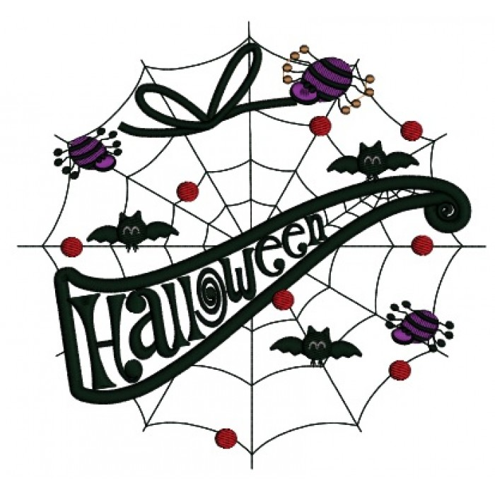 Spider Web With Bats and Spiders Applique Machine Embroidery ...
