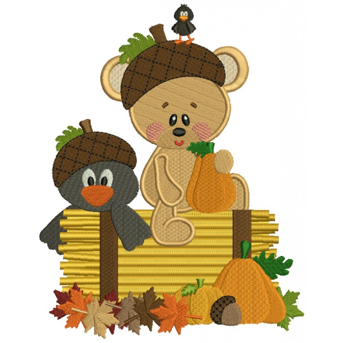 Baby Bear With a Little Crow Fall Filled Machine Embroidery Design Digitized Pattern