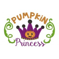 Pumpkin Princess Halloween Applique Machine Embroidery Digitized Design Pattern