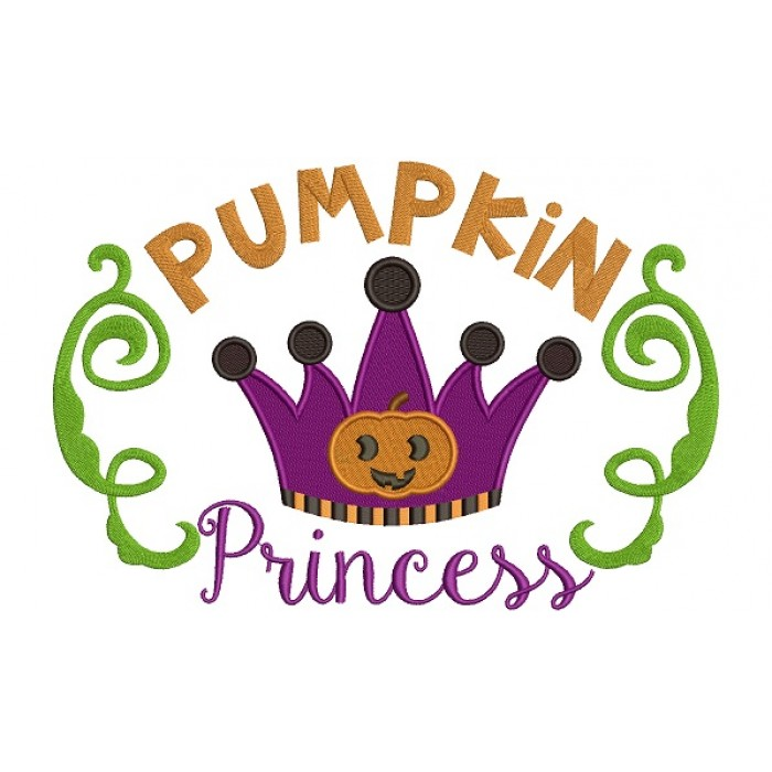 Pumpkin Princess Halloween Filled Machine Embroidery Digitized Design Pattern
