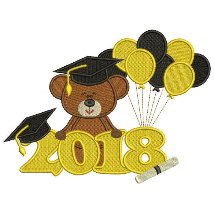 2018 Graduation Bear With Balloons Filled Machine Embroidery Design Digitized Pattern