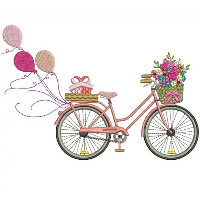 Bicycle With Flowers and Balloons Filled Machine Embroidery Digitized Design Pattern
