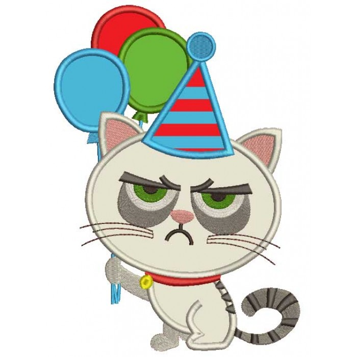 Cat That Looks Grumpy Holding Balloons Applique Machine Embroidery Design Digitized Pattern