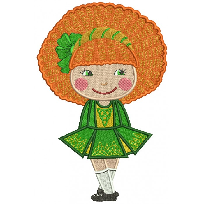 Cute Little Girl With Big Hair St. Patrick's Day Filled Machine Embroidery Design Digitized Pattern