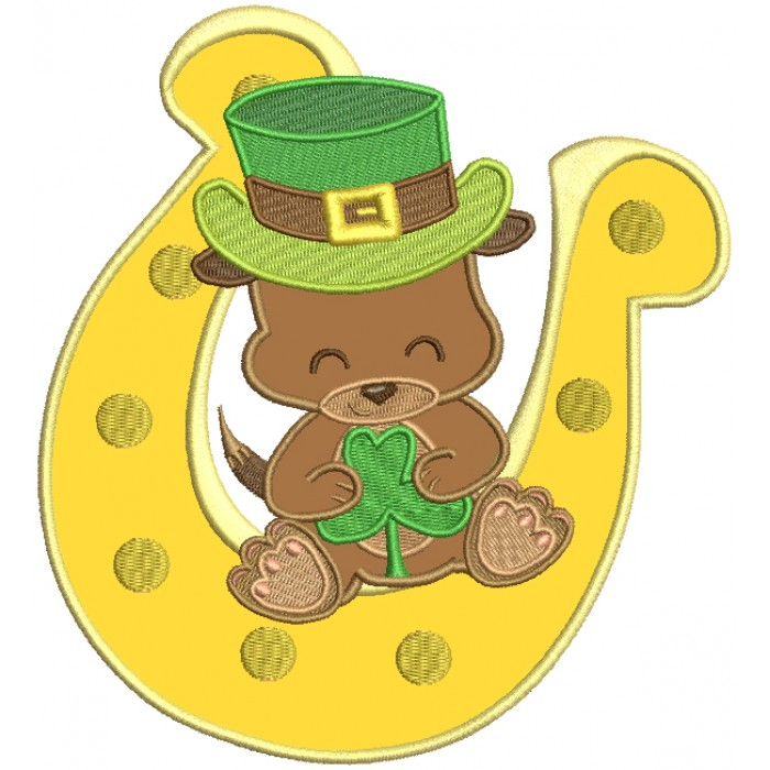 Puppy Sitting On a Big Horseshoe St. Patrick's Day Applique Machine Embroidery Design Digitized Pattern