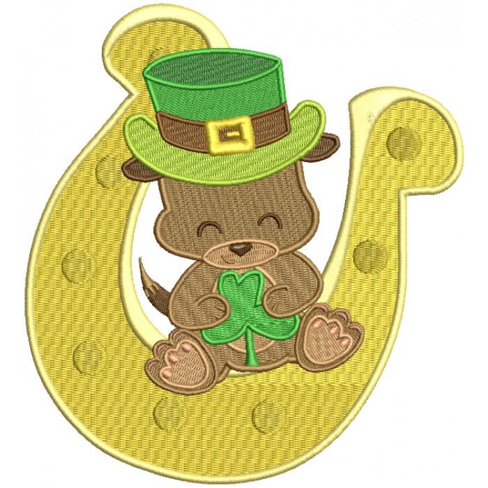 Puppy Sitting On a Big Horseshoe St. Patrick's Day Filled Machine Embroidery Design Digitized Pattern