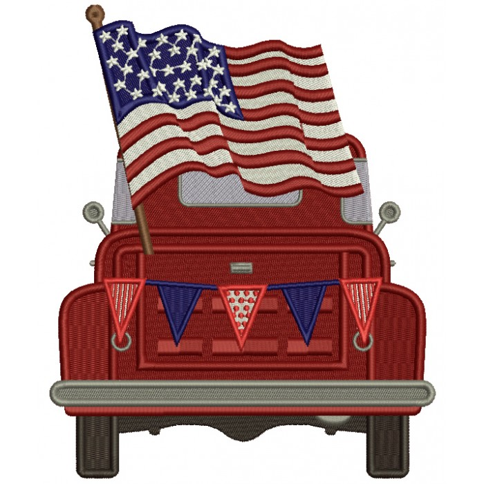 Truck With American Flag Patriotic Filled Machine Embroidery Design Digitized Pattern