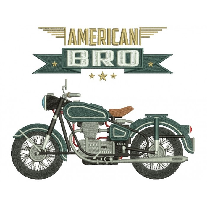 American Bro Motorcycle Filled Machine Embroidery Digitized Design Pattern