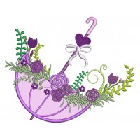 Beautiful Ornate Umbrella With Flowers and Heart Applique Machine Embroidery Digitized Design Pattern