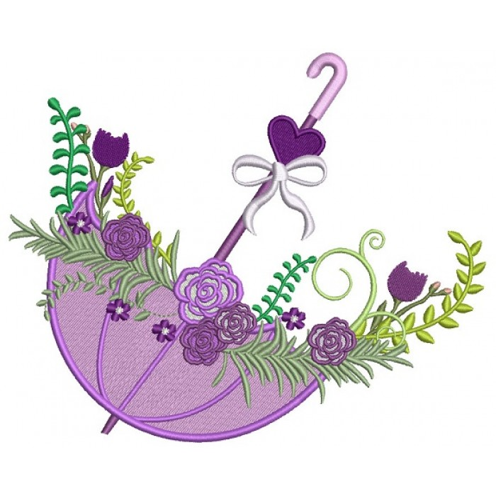 Beautiful Umbrella With Flowers And Heart Filled Machine Embroidery Digitized Design Pattern 700x700 Jpg