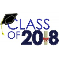 Class Of 2018 Graduation Applique Machine Embroidery Design Digitized Pattern