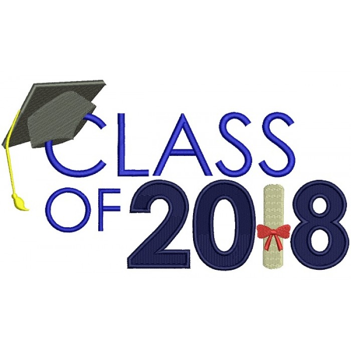 Class Of 2018 Graduation Filled Machine Embroidery Design Digitized Pattern