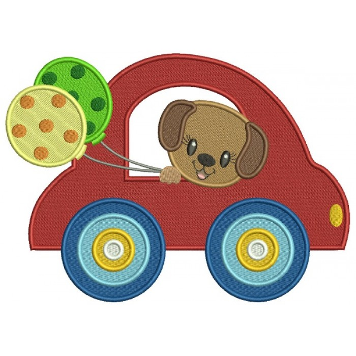 Cute Little Puppy Riding In Car Holding Balloons Filled Machine Embroidery Design Digitized Pattern
