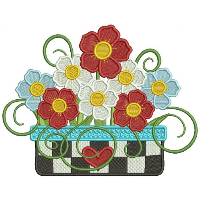 Gorgeous Flower Bouquet Filled Machine Embroidery Design Digitized Pattern