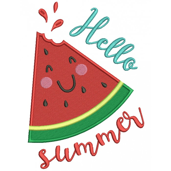 Hello Summer Watermelon Slice Filled Machine Embroidery Design Digitized Pattern