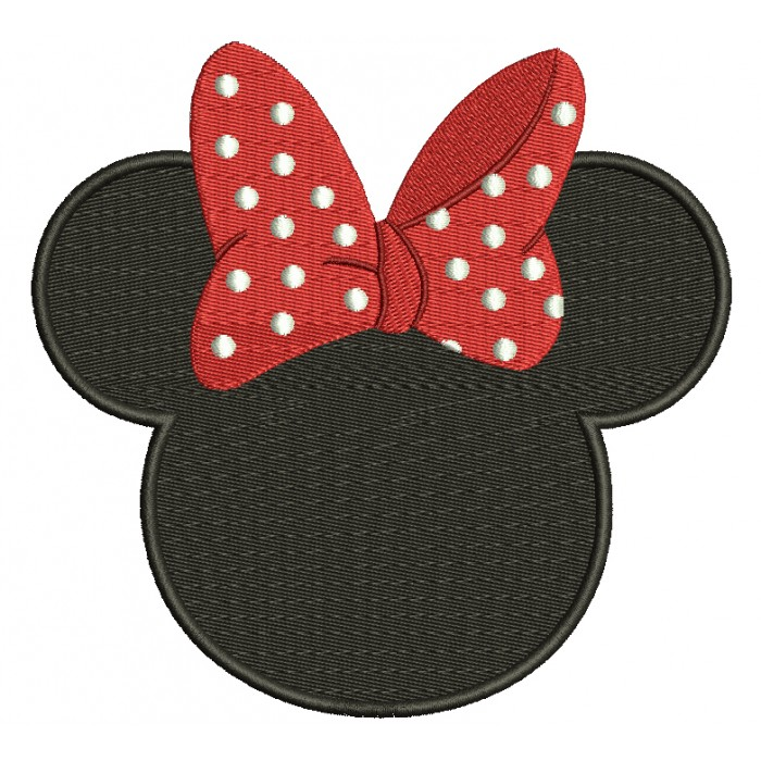 Looks like Minnie Mouse Ears Filled Machine Embroidery Digitized Pattern- Instant Download - 4x4 ,5x7,6x10 -hoops
