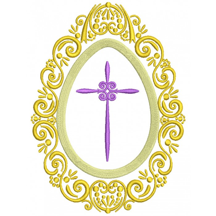 Ornamental Frame With a Cross Filled Machine Embroidery Design Digitized Pattern