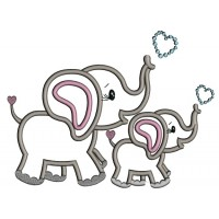 Two Cute Elephants With Hearts Applique Machine Embroidery Design Digitized Pattern