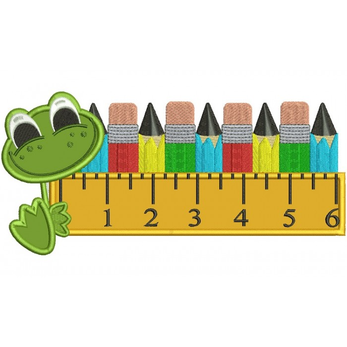 Cute Frog With a Big Ruler and Pencils School Applique Machine Embroidery Digitized Design Pattern