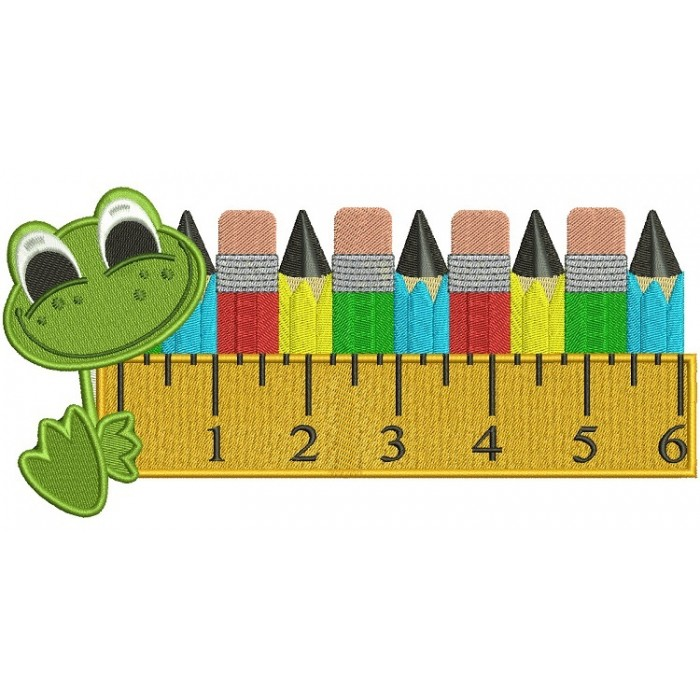 Cute Frog With a Big Ruler and Pencils School Filled Machine Embroidery Digitized Design Pattern