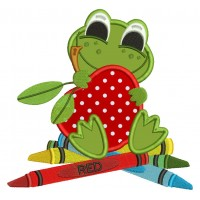Cute Froggy With an Apple Applique Machine Embroidery Digitized Design Pattern