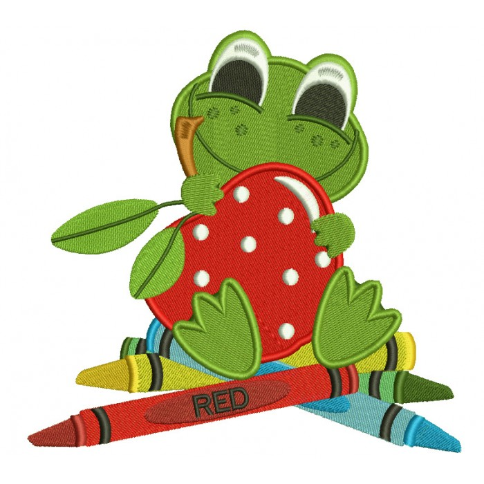 Cute Froggy With an Apple Filled Machine Embroidery Digitized Design Pattern